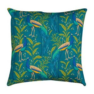 """Vibrant Peacock Cushion in Indigo and Teal Blue. 17"""" Double Sided. 100% Cotton."""