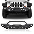 Textured Front Bumper w/ LED Lights & D-rings Fit for 2007-2018 Jeep Wrangler JK
