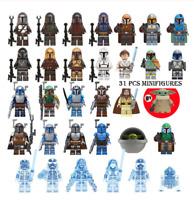 31 Pcs Minifigures Star Wars Baby Yoda Mandalorian Darth Maul Leia Rey Lego MOC