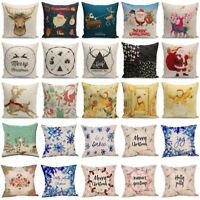18'' Christmas Snowflake Deer Cotton Linen Throw Pillow Case Sofa Cushion Cover