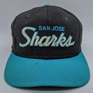 vtg SPORTS SPECIALTIES San Jose Sharks NHL Script Logo Hat Fitted Cap 7 Black