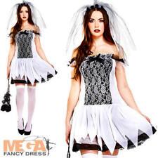 Zombie Teen Bride Ladies Fancy Dress Halloween Womens Adults Horror Costume New