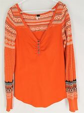 WE THE FREE People Orange Sweater LARGE Geometric Boho Hippie Womens L