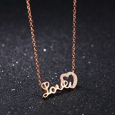 Edelstahl Damen Kette HERZ LOVE Roségold Halskette Steel Necklace Zirkon Schmuck