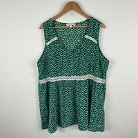 Suzanne Betro Womens Top Plus Size 2X Au 18 Green Floral Sleeveless Scoop Neck