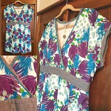 Ladies Fat Face 18 NWT Blue Purple Print Dress Occasion Summer Cotton Holiday