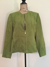 Koret Womens Jacket Sz 16 Zip Front Green Perforated Faux Suede Turquoise Lining