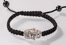 Armband Totenkopf schwarz silber Armreif Kristall Unisex Crystal Nick Jordan NEU