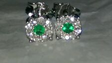 ORECCHINI oro bianco 18 kt  diamanti naturali 0.32 CT smeraldi naturali 0,14 CT