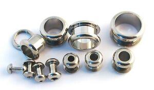 Surgical Steel Flesh Tunnel Ear Plug Screw Body Jewellery Ear Lobe 2mm-16mm