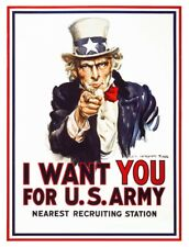 I Want You for US Army Uncle Sam Army War USA VINTAGE METAL RETRO BAR Room Sign