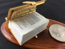 Lot of Miniature Dollhouse table and miniature readable New Testament