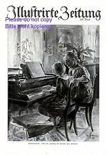 Pianoforte insegnamento XL stampa d'arte 1921 da Hans Soltmann * Wroclaw insegnante di pianoforte