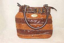 D & L Vogue ~ Brown Tones Alligator Print Hand Bag * VERY GOOD COND.