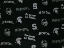 MICHIGAN STATE LOGO MSU GO GREEN WHITE COTTON FABRIC FQ