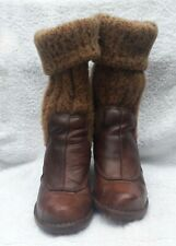 El naturalista brown leather and knit ankle boots