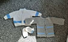Baby Boys Hand Knitted Cardigans Size 0 - 3 Months