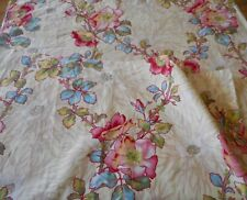Antique French Wild Roses Floral Cotton Fabric #2~ Pink Yellow Red Blue Green