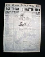 UNITED STATES PROHIBITION ENDING ? House Hearings on Legal BEER 1932 Newspaper