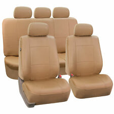 Complete Set Synthetic Leather Car Seat Covers for Auto Tan w/5 headrests