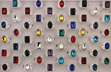 New Wholesale Jewelry Lots 32pcs Mixed Glass Trendy Silver P Alloy Unisex Rings