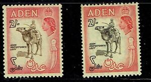 Aden 1953 & 1956 2/- stamps - two shades mounted mint as scan