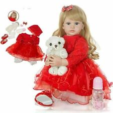 "24"" Long Hair Princess Girl Reborn Doll Vinyl  Silicone Doll Xmas Kids Gifts"