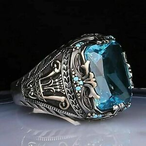 925 Sterling Silver Turkish Handmade Jewelry Aquamarine Men's Ring Size 10