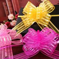 10pcs Pull Bows Organza Ribbons Wedding Party Flower Decor Gift Present Wrap
