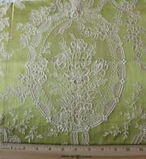"Antique French Victorian c1880 Chartreuse Silk Fabric~Bow & Florals~14"" X 19"""