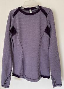 Lululemon Long Sleeve Base Purple Striped Runner Top with Thumbholes Size Sz 8