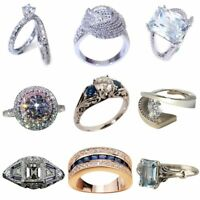 Size 5-11 Silver Rings Diamond for Women Wedding Engagement Crystal Jewelry Ring
