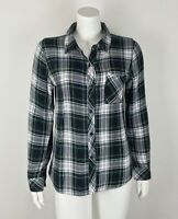 Rails Women's Plaid Shirt Green Button Down Multi 100% Rayon Small Long Sleeve