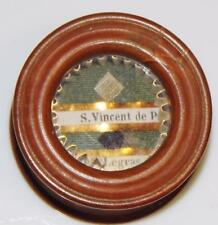 19thC. Reliquary in Pear Wood Box of St. Vincent de Paul Legrass Holy RELIC +Wax
