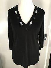 Pullover ~ Damen Shirt, schwarz, Glitzersteine, Gr. 40/42