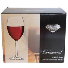set of 6 Glasses DIAMOND Drinking glass liquor goblets beverage 330ml party stem