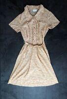 True Vintage Atlantic Mustard 60s 70s Dress M UK 10 12 Polka Dot Retro Mad Men