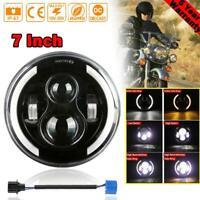 """7"""" LED Headlight Halo Angel Eyes for Harley-Davidson Honda Yamaha Motorcycle"""