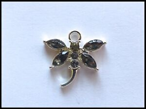 2 PCS SILVER PLATED GREY / PEWTER RHINESTONE DRAGONFLY CHARMS 20MM X 19MM