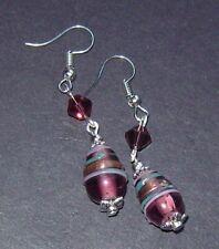 AMETHYST GLASS MULTI RIBBONS LAMPWORK GLASS EARRINGS