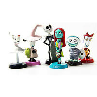 6PC Nightmare Before Christmas Jack and Zero Figure Car Decor Xmas Gift Toy Doll