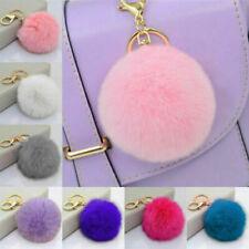 Lovely Rabbit Fur Ball PomPom Car Phone Keychain Handbag Charm Key Ring