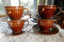 Coventry Parthenon Stoneware Dishes LARGE Dark Brown 4 Mugs & Saucers