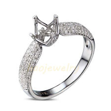 Round Cut 5mm Solid 18K White Gold Natural Diamond Semi Mount Ring Setting