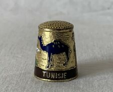 Metal Brass and Enamel Souvenir of Tunisia Tunisie Thimble with Camel Theme