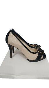 ZARA Shoes Size 8 Beige w/Black Buckle Peep Toe Holiday Evening Wedding Party
