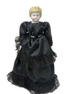 "12"" Antique German? Low Brow Civil War Era China Doll Original Body Black Dress"