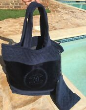NWOT authentic CHANEL Navy and blue CC logo cotton Xlarge beach tote 2018