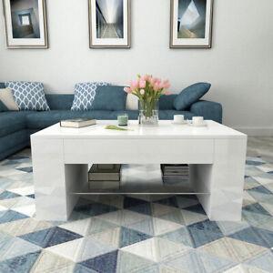 Coffee Table Storage High Gloss 2 Shelve Living Room Furniture White Modern UK