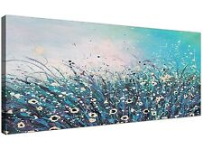 Teal and Cream Floral Abstract Flowers Canvas Modern 130cm Wide - 1260